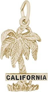 Rembrandt Sterling Silver Two-Tone California Palm Charm on a Sterling Silver Rope Chain Necklace
