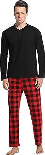 Vlazom Men's Pajamas Set Long-Sleeve Soft PJ Sleepwear Top and Check Bottoms S-XXL