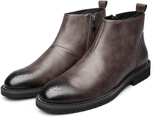 Jiahe botas Martin para Hombre Brogue botas de Cuero Tallaño Botines con Cremallera Piel de Vaquero botas Casual Elegantes-marrón,42
