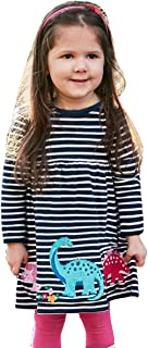 DiDaDo Girls Casual Dress Long Sleeve Cotton Cute Cartoon Party Dress for Kids 2-6 Years