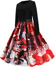 TOPBIGGER Women Halloween Dresses A-Line Long Sleeve Flare Swing Dress 1950s Retro Dresses