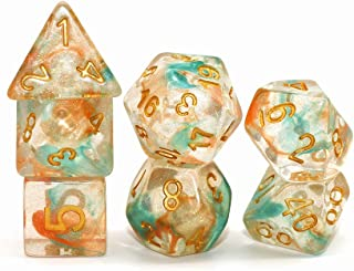 DND Dice Set-Orange Mix Blue RPG Galaxy Swirl Dice for D&D Dungeons and Dragons Role Playing Game Polyhedral Transparent Dice with Glitter
