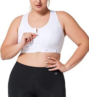 Yvette Limitless Plus Size Sports Bra Adjustable Straps with Zipper Front