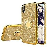 """Misstars Brillantini Glitter Cover per iPhone XS Max Oro, Bling Diamante Morbida TPU Silicone Custodia Antiurto Protettivo Cover con Supporto ad Anello per Apple iPhone XS Max (6,5"""")"""