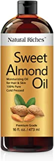 Natural Riches Sweet Almond Oil Cold Pressed, Triple A Grade , Pure and Natural Hexane free Soothing Vitamin E Oil for Ski...