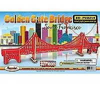 Puzzled Golden Gate Bridge 3D Woodcraft Construction Puzzle Kit, Famous Scenic San Francisco Architecture Model 37 Piece Pre Colored Wooden Puzzles Building Set Famous Site Themed Toy & Games [並行輸入品]