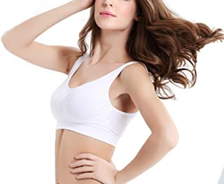 DKKK Womens Round Neck Sports Bras High Impact Support Yoga Gym Bra Seamless Workout Fitness