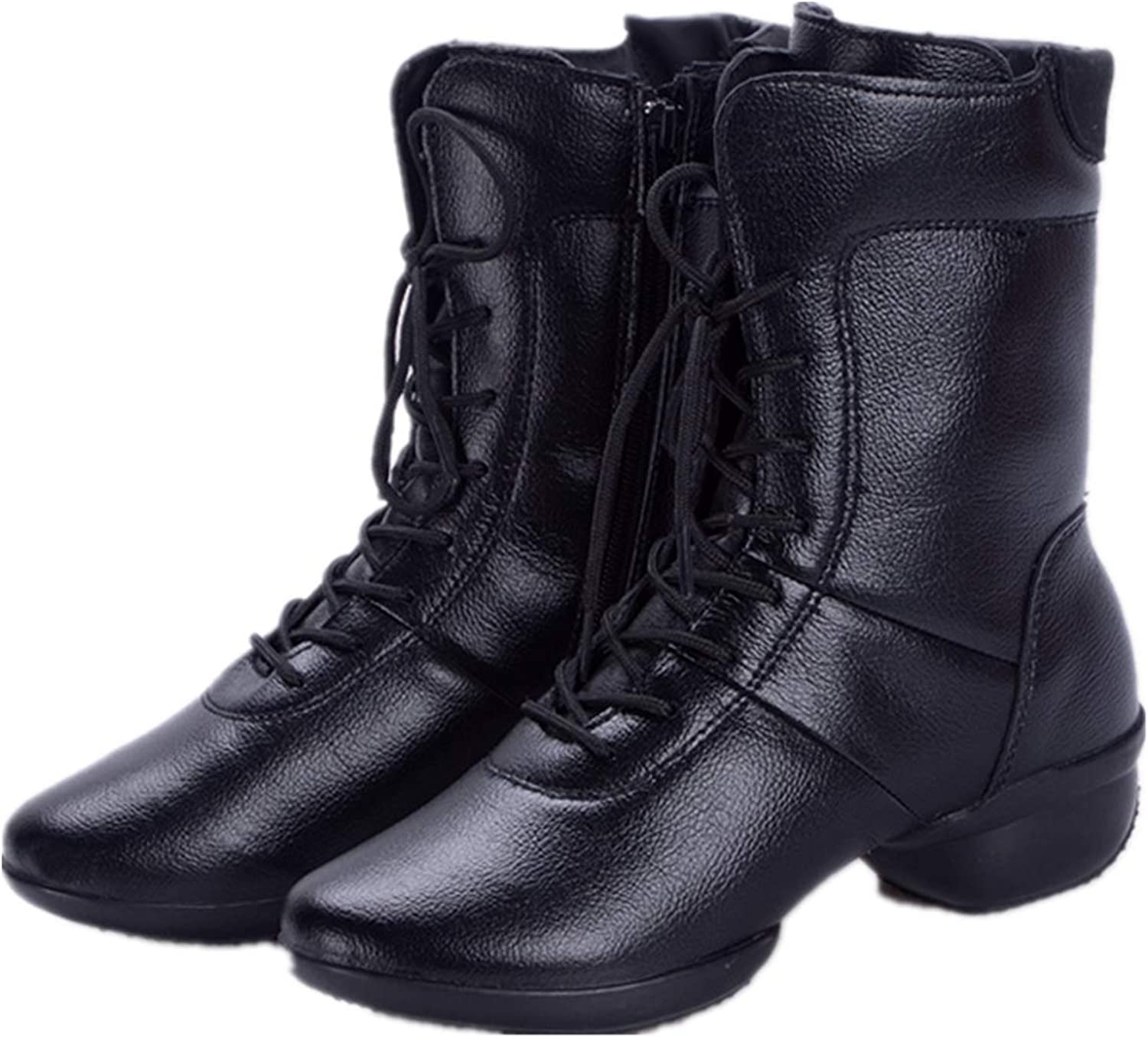 Xujw-shoes High Top Dance Boots with Fleece Lining Side Zipper Genuine Leather Soft Outsoles for Women