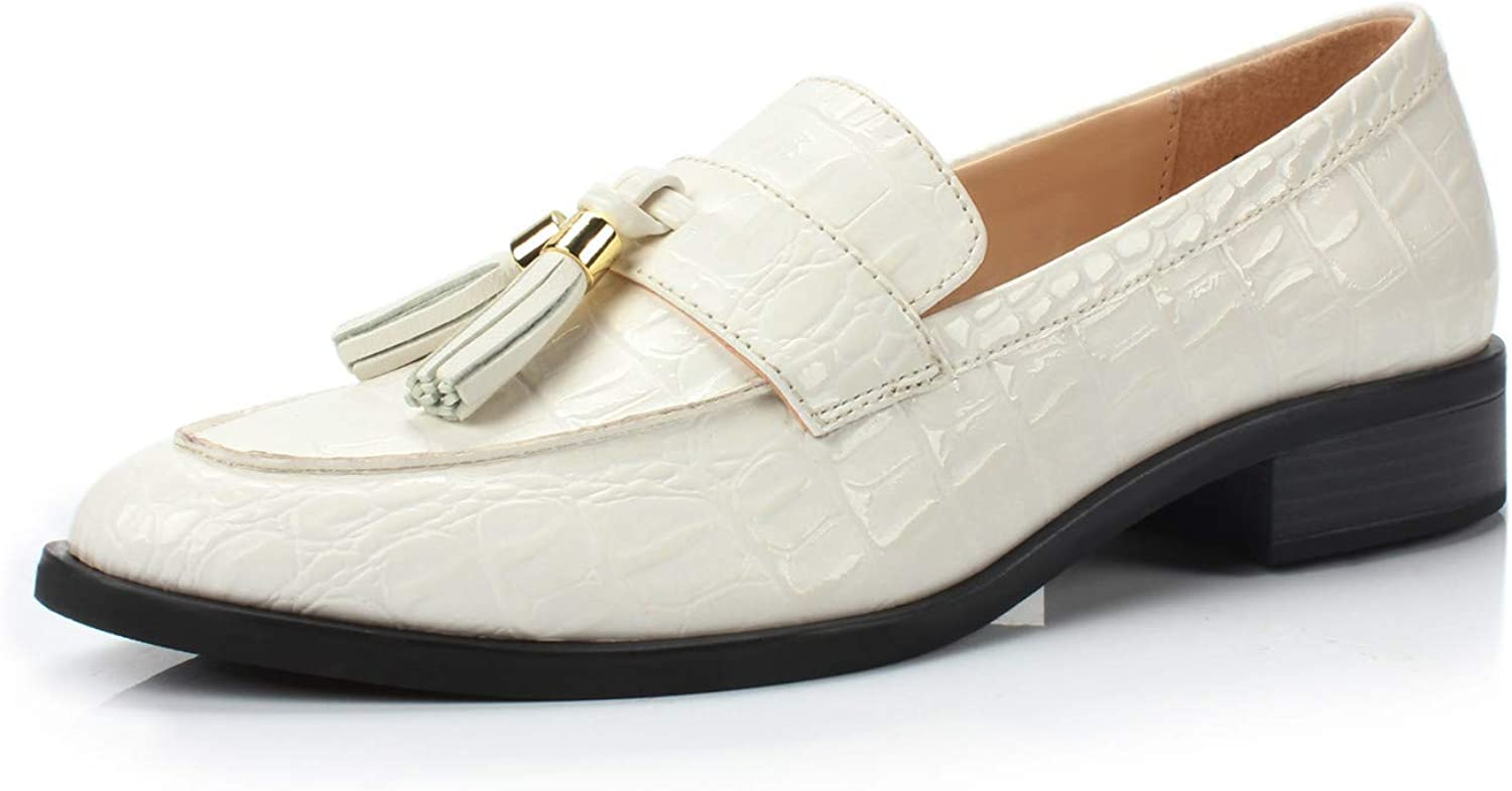 DUNION Women's Brandon Chain Decorated Penny Loafers Low Heels Almond Toe Casual Daily shoes