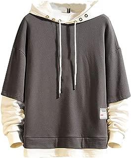 Stoota Hoodies for Men,Men's Tops Casual Pullover Hoodie Pleated Raglan Long Sleeve Hooded Basic Slim Fit Sweatshirt