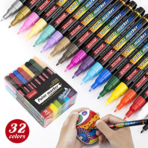 ZEYAR Acrylic Paint Pens, Water based, Extra Fine Point, 32 vibrant colors,...