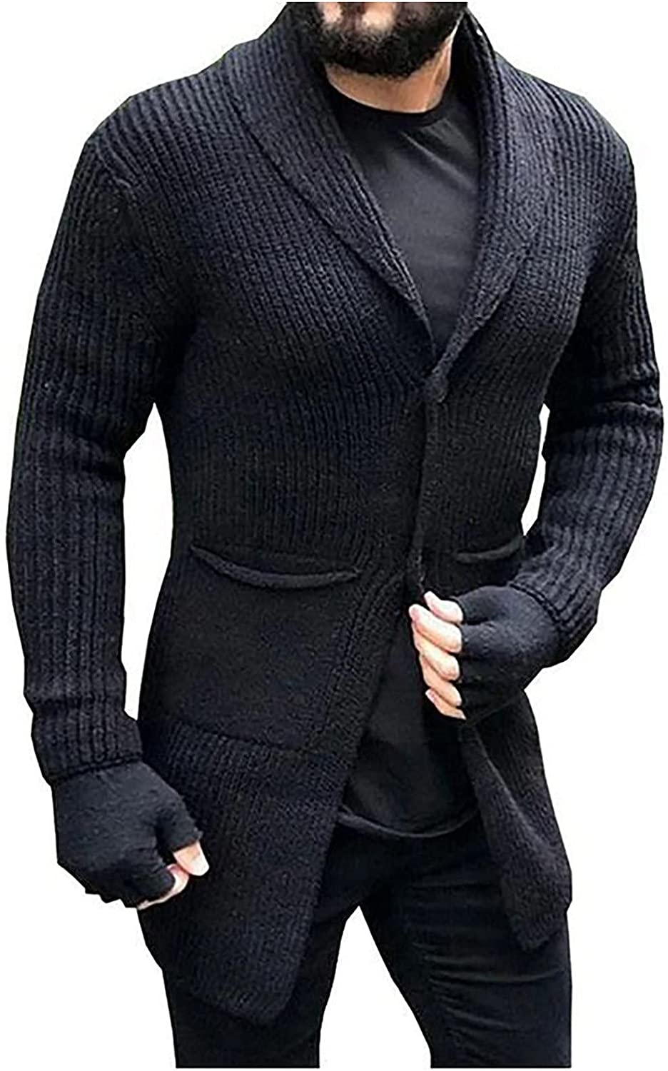Huangse Men's Slim Fit Shawl Collar Cardigan Sweater Solid Color Button Down Knitted Sweaters with Pockets