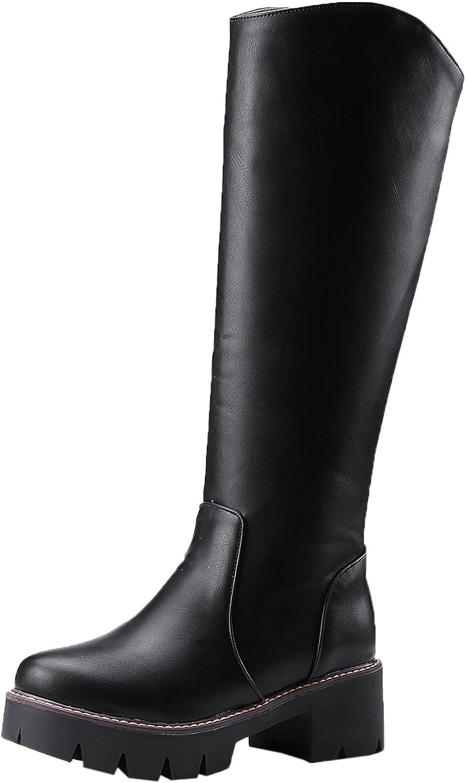 BIGTREE Knee High Boots Women Platform Fall Winter Comfortable Zipper Warm Casual Black Long Boots