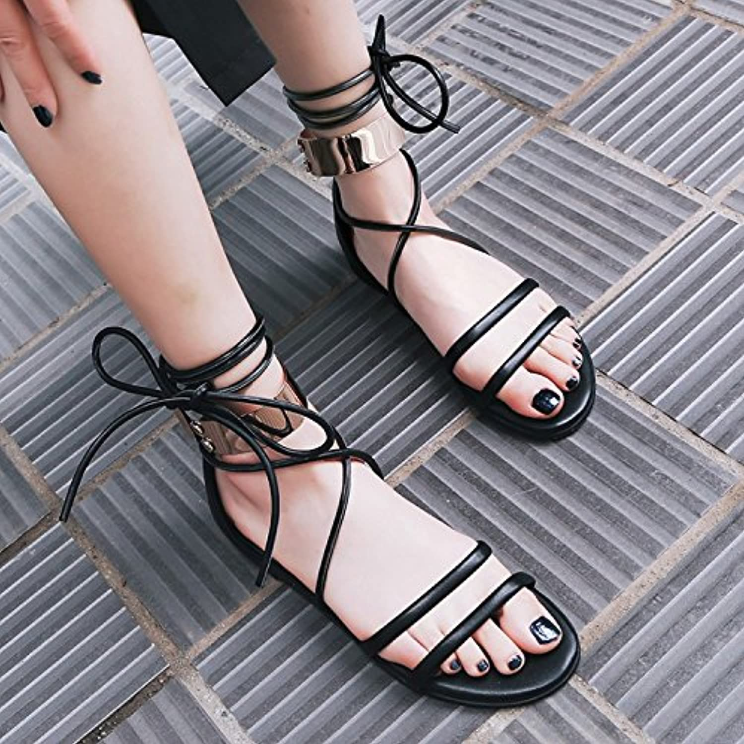 WHW Women's Rhinestone Summer Fall Fabric Outdoor Dress Casual Flat Heel Fish Mouth Sandals