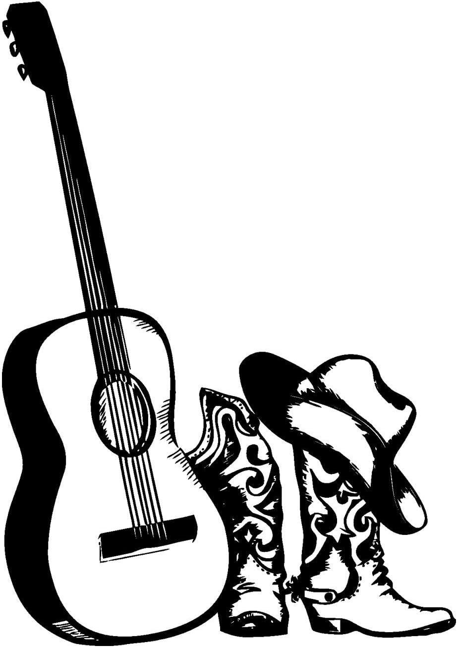 Wall Decals Sticker-Cowboy Hat Countr Boots-Vinyl スーパーセール期間限定 Sticker-Guitar 正規逆輸入品