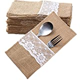40 Stück Jute Bestecktaschen Besteckbeutel Besteckhalter Sackleinen mit Spitze Vintage Hochzeitsdeko Tischdeko für Hochzeit Party