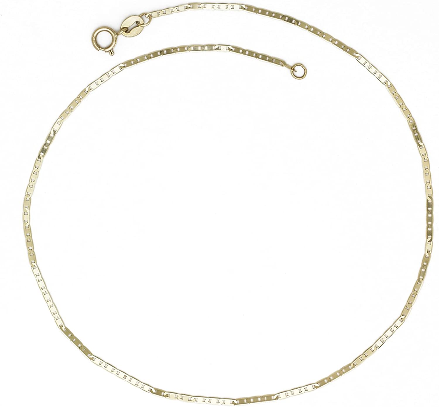 Jewelryweb Solid Manufacturer OFFicial shop 10K Yellow Rare Gold Thin 1.3mm 10-inch Flat Mariner