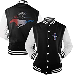 Official Licensed Ford Mustang RWB Vintage Varsity Baseball Jacket