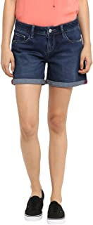 KVL Womens Regular Fit Denim Shorts - (Blue)