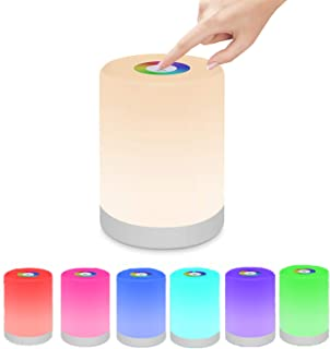 Swonuk Luz de Noche LED, Lámpara de Mesita de Noche Táctil Recargable, Lámpara de Noche con Cambio de Color RGB Regulable para Niños, Dormitorio, Camping