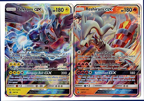 Legendary GX LOT - ZEKROM GX SM138 & RESHIRAM GX SM137 - Dragon Majesty Premium Collection Promo Cards