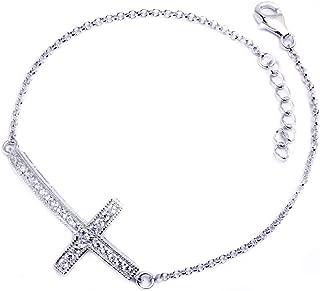 Sterling Silver Cubic Zirconia Sideways Cross Bracelet 7.5