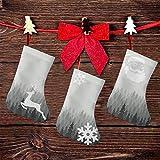 FULIYA (3 paquetes) medias de Navidad de 7.5 pulgadas, patrón de naturaleza salvaje con muchos árboles, madera monocromática, decoración de fiesta de Navidad