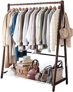 Porte manteau Portemanteau en bois massif, Balcon Chambre Magasin de vêtements cintre de séchage présentoir Au sol Étagère...