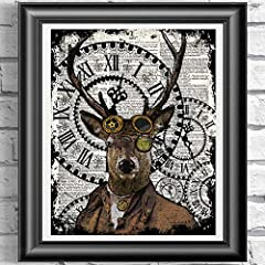 Steampunk Animals Wall art on Antique dictionary book pages. Set of 4 prints, Fox print, Giraffe print, owl print and Stag print #3