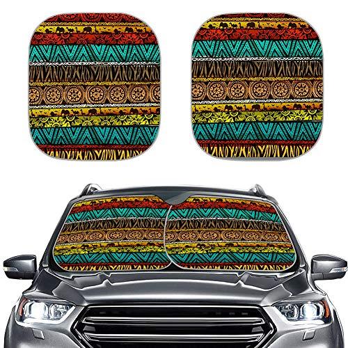Amzbeauty 2 parasoles para coche con correas elásticas universales para la mayoría de coches, sedán, vagón, furgoneta, todoterreno. Mantén tu vehículo fresco