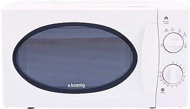 H.Koenig VIO6 Microondas sin Grill, 20 litros, 700 W, Temporizador hasta 30 min, 5 Niveles de Potencia de Calentado, Descongelador, Plato Giratorio 24,5 Cm, Acero Laminado, 45.3 x 33 x 25.5 cm, Blanco