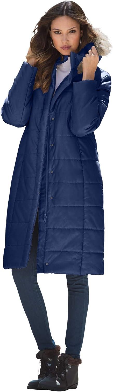 Roaman's Women's Plus Size Mid-Length Puffer Jacket With Hood Winter Coat