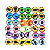 JulieWang 10mm 100pcs Mixed Dragon Eyes Round time gem Cover Glass Cabochon Dome Cameo Pendant Settings