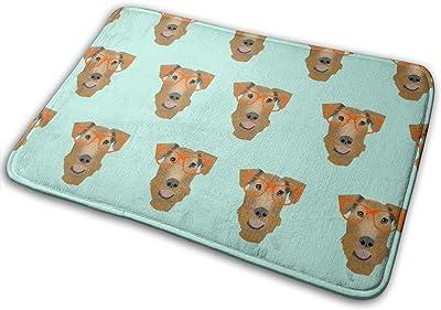 """Airedale Terrier Glasses Cute Dog Pattern Mint_27252 Doormat Entrance Mat Floor Mat Rug Indoor/Outdoor/Front Door/Bathroom Mats Rubber Non Slip 23.6"""" X 15.8"""""""
