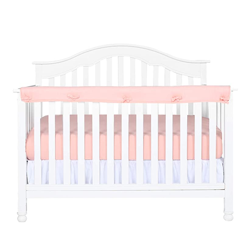 Designthology (U.S.) 1-Pack Super Breathable Narrow Crib Rail Cover for Long Rail - 100% Cotton Muslin, Peachy Pink, for Rails Measuring up to 8