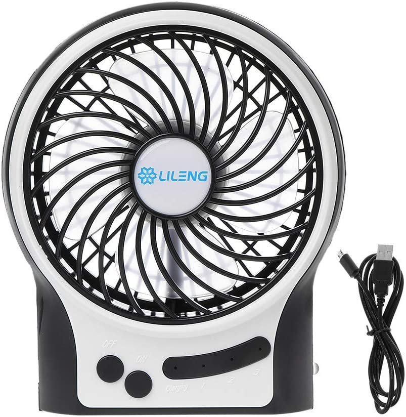 HELYZQ LILENG Rechargeable Portable Fan, Battery Operated or USB Powered Fan, Handheld Fan with Internal and Side LED Light, Personal Cooling for Traveling, Boating, Fishing, Camping