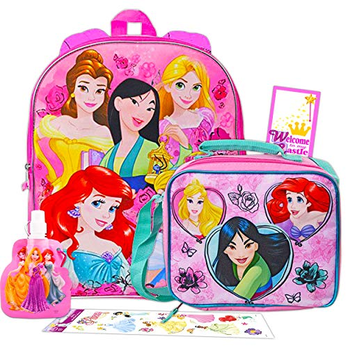 Disney Princess Backpack with Lunch Box for Girls 5 Pc Bundle ~ Deluxe 15' Princess School Bag, Lunch Bag, Water Bottle, Stickers, and More (Disney Princess School Supplies)