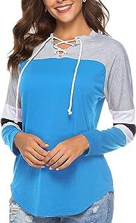 Women Tunic Blouse Long Sleeve Lace Up Tops Color Block Baseball T Shirt