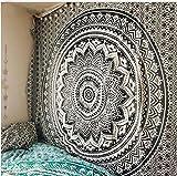 Tapiz de mandala, para colgar en la pared, decoración de dormitorio hippie indio, decoración bohemia, poliéster, negro, 150x210cm