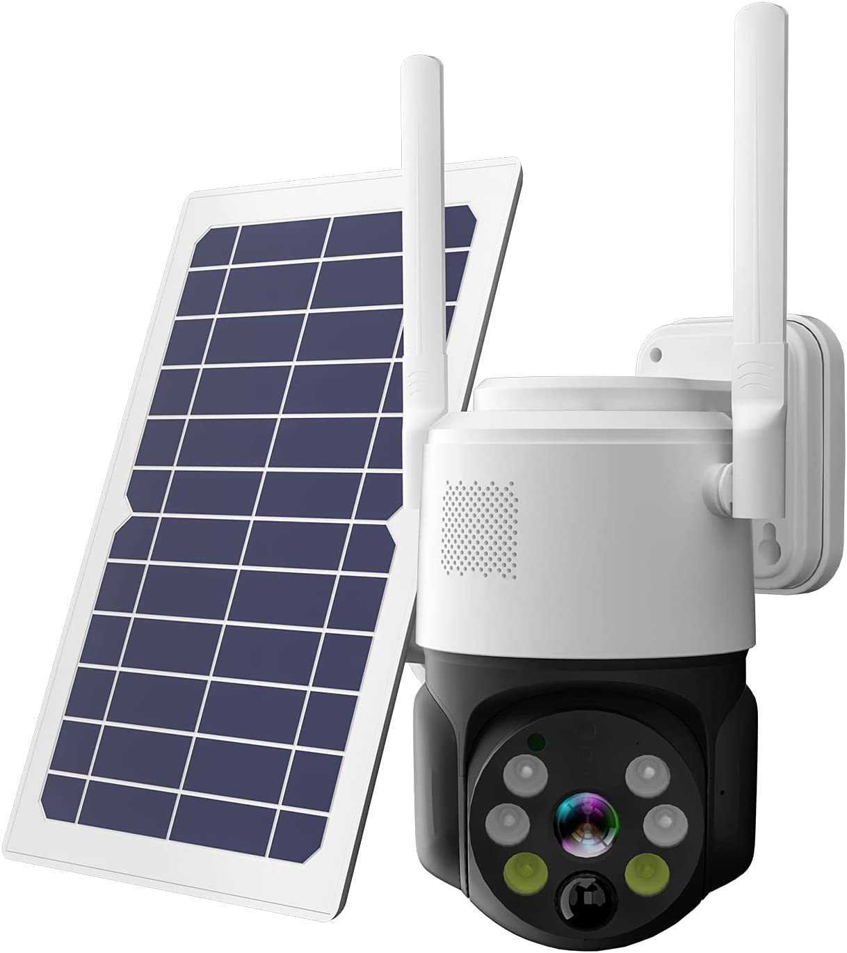 Solar Security Camera Outdoor Wireless Pan Tilt Battery Powered Auto Tracking 1080P WiFi PTZ Camera Home Surveillance PIR Motion Detection Two-Way Audio Color Night Vision SD/Cloud Storage