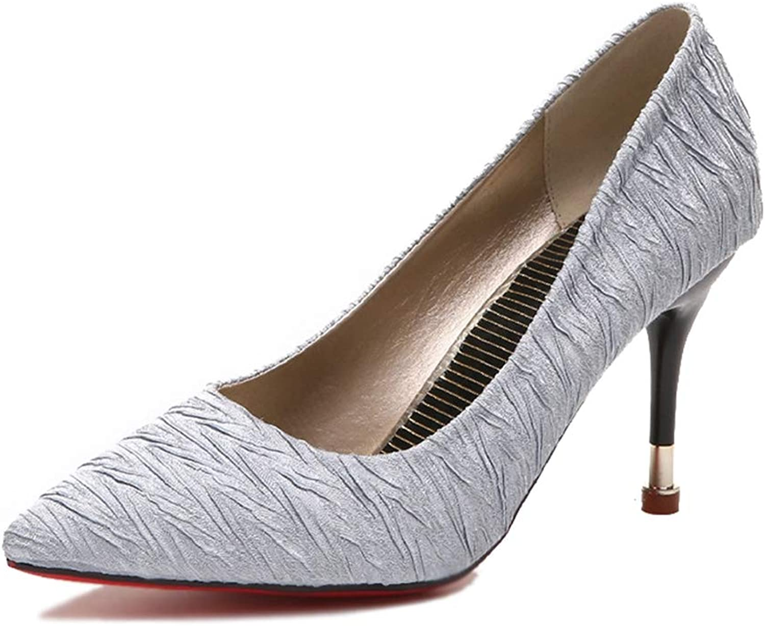 Phil Betty Women's Pumps,Elengant Classic Slip-on Grey Apricot Business Dress High Heels