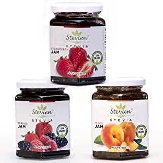 Stevien Jam Collection (3 Jars) | Made With Organic Stevia | Low Calorie | Vegan,Nut-Free and Gluten Free| 100% Natural And Local Fruits | Peach, Strawberry, And Mixed Berry