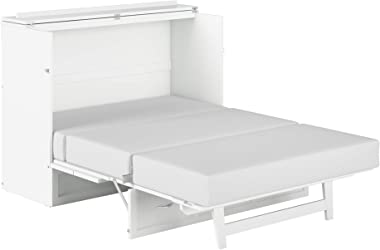 Atlantic Furniture Deerfield Murphy Bed Chest with Charging Station, Full, White