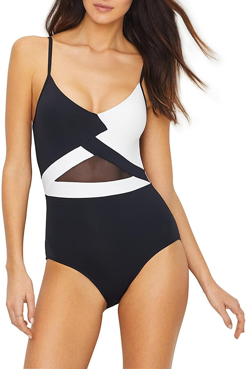 Anne Cole Womens Mesh Black and White V Neck Sexy One Piece Swimsuit One Piece Swimsuit