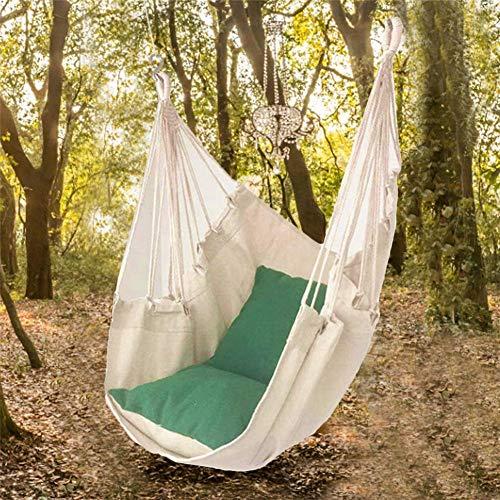 Chinejaper hangstoel 2 kussens, XL hangstoel voor volwassenen en kinderen, belastbaar tot 120 kg, hangstoel voor woon- en kinderkamer