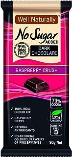 Well Naturally No Sugar Added Dark Chocolate Raspberry Crush Block 90 g