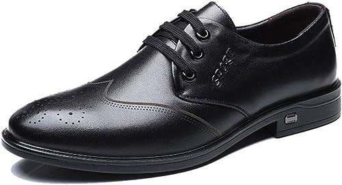 LEDLFIE Herren Echtleder Schuhe Block Casual Herrenschuhe