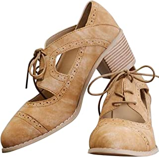 Women's Cut Out Ankle Boots Breathable Vintage Oxford Block Heel Pumps