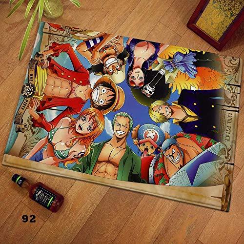 QNNN Anime One Piece Luffy Alfombra de Piso Alfombra Dormitorio Felpudo Alfombrilla Antideslizante Regalo de Dibujos Animados Cospaly-Desde_40 * 60