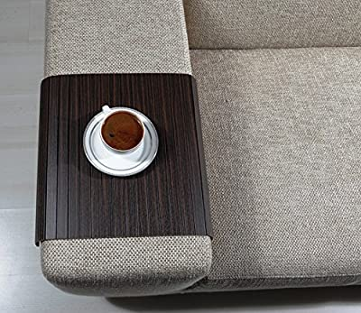 Dark Brown Wood Table For Sofa Arm